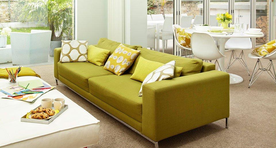 light coloured beige carpet in open plan room