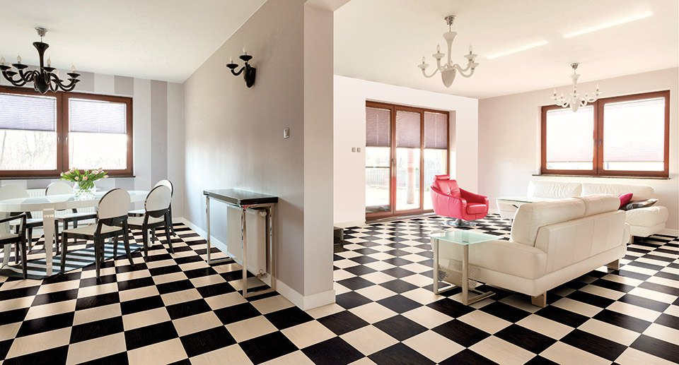 black and white chess board flooring