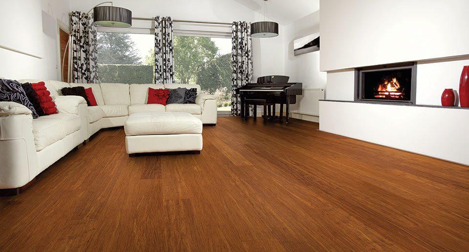 open plan lounge with dark wood flooring