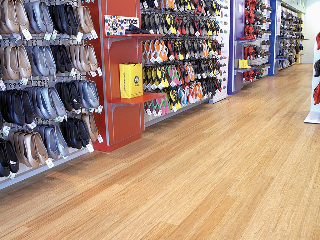 bamboo natural flooring in shoe shop