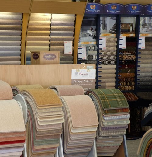 display section of carpets at crown carpets