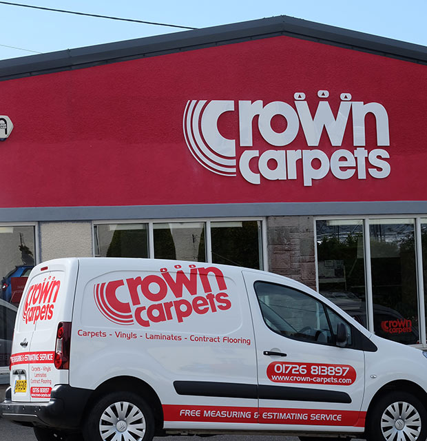 outside street view of crown carpets