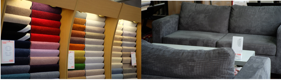 sofa and carpet selection inside Crown Carperts