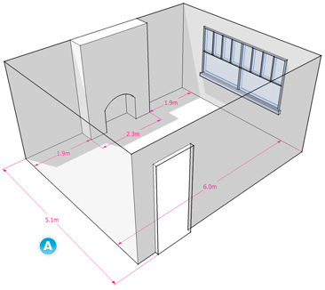 measuring guide for carpets in a room